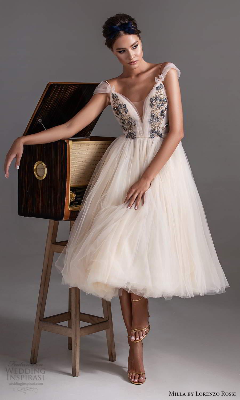 milla by lorenzo rossi 2020 rtw off shoulder straps plunging v neckline embellished bodice a line ball gown dress tea length (19) mv