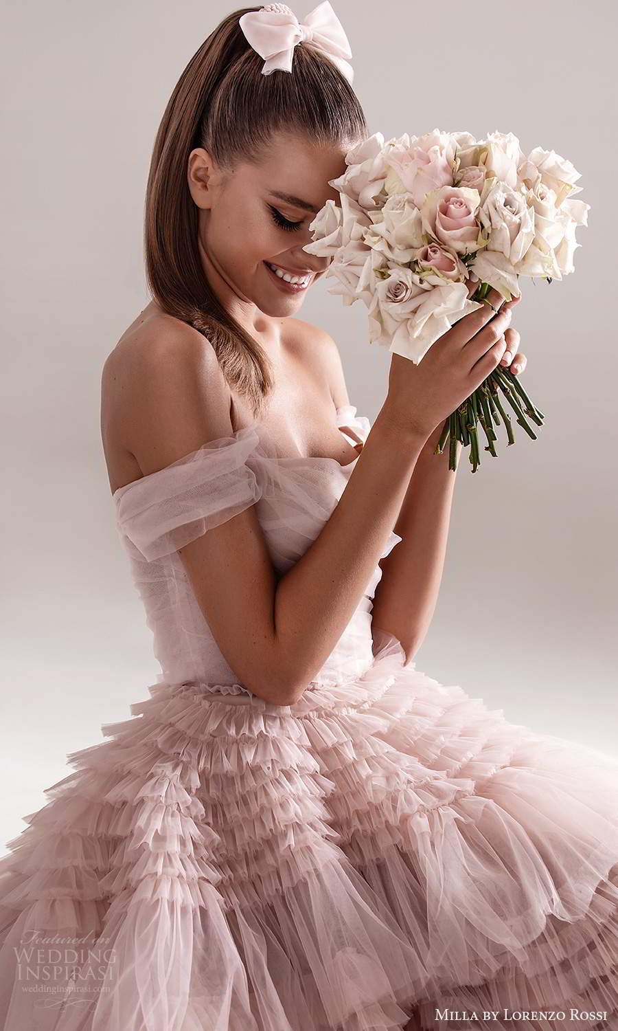 milla by lorenzo rossi 2020 rtw off shoulder straps semi sweetheart neckline ruched bodice a line ball gown wedding dress ruffle skirt chapel train blush pink (6) zv