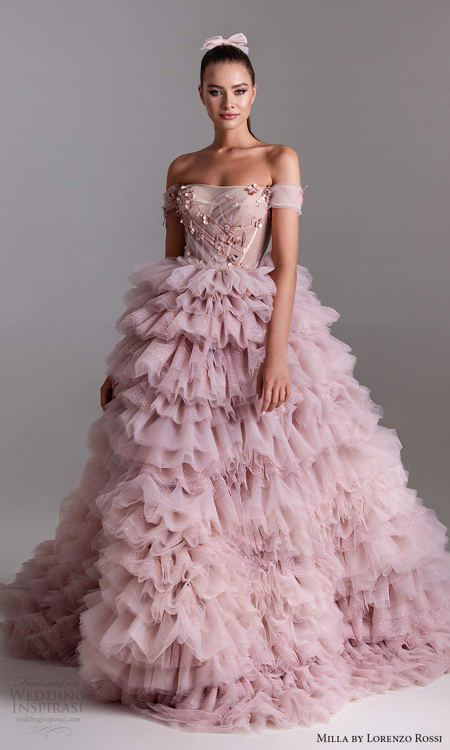 milla by lorenzo rossi 2020 rtw off shoulder straps sweetheart neckline embellished bodice a line ball gown wedding dress ruffle skirt lavender pink (15) fv