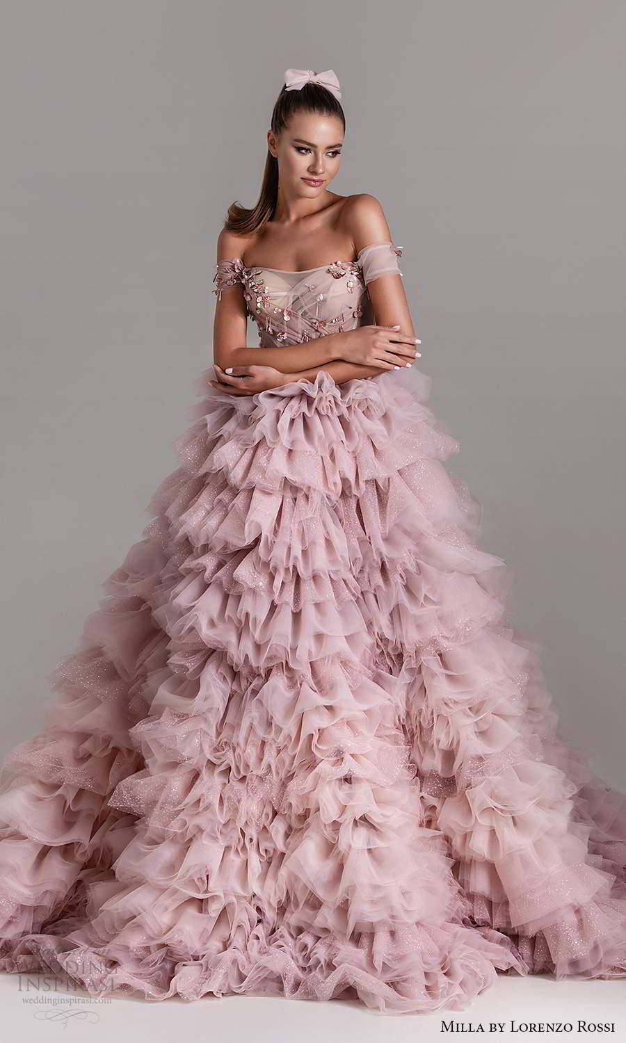 milla by lorenzo rossi 2020 rtw off shoulder straps sweetheart neckline embellished bodice a line ball gown wedding dress ruffle skirt lavender pink (15) mv