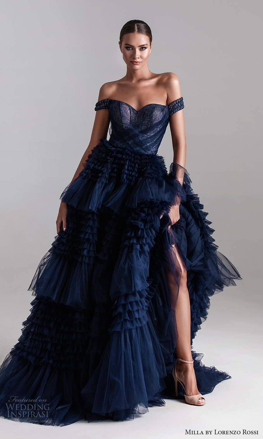 milla by lorenzo rossi 2020 rtw off shoulder straps sweetheart neckline ruched corset bodice a line ball gown wedding dress chapel train (13) mv