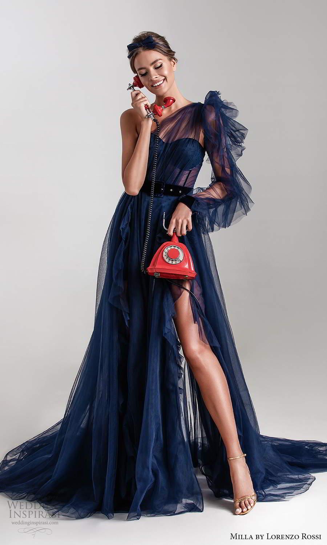 milla by lorenzo rossi 2020 rtw one shoulder semi sweetheart neckline ruched bodice a line ball gown wedding dress chapel train navy blue (8) mv