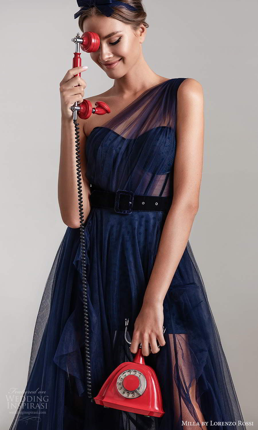 milla by lorenzo rossi 2020 rtw one shoulder semi sweetheart neckline ruched bodice a line ball gown wedding dress chapel train navy blue (8) zv