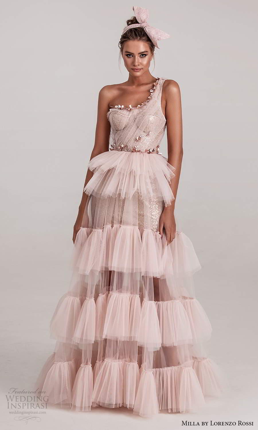 milla by lorenzo rossi 2020 rtw one shoulder straps sweetheart neckline ruched bodice embellished a line dress ruffle tier skirt pink blush (21) mv