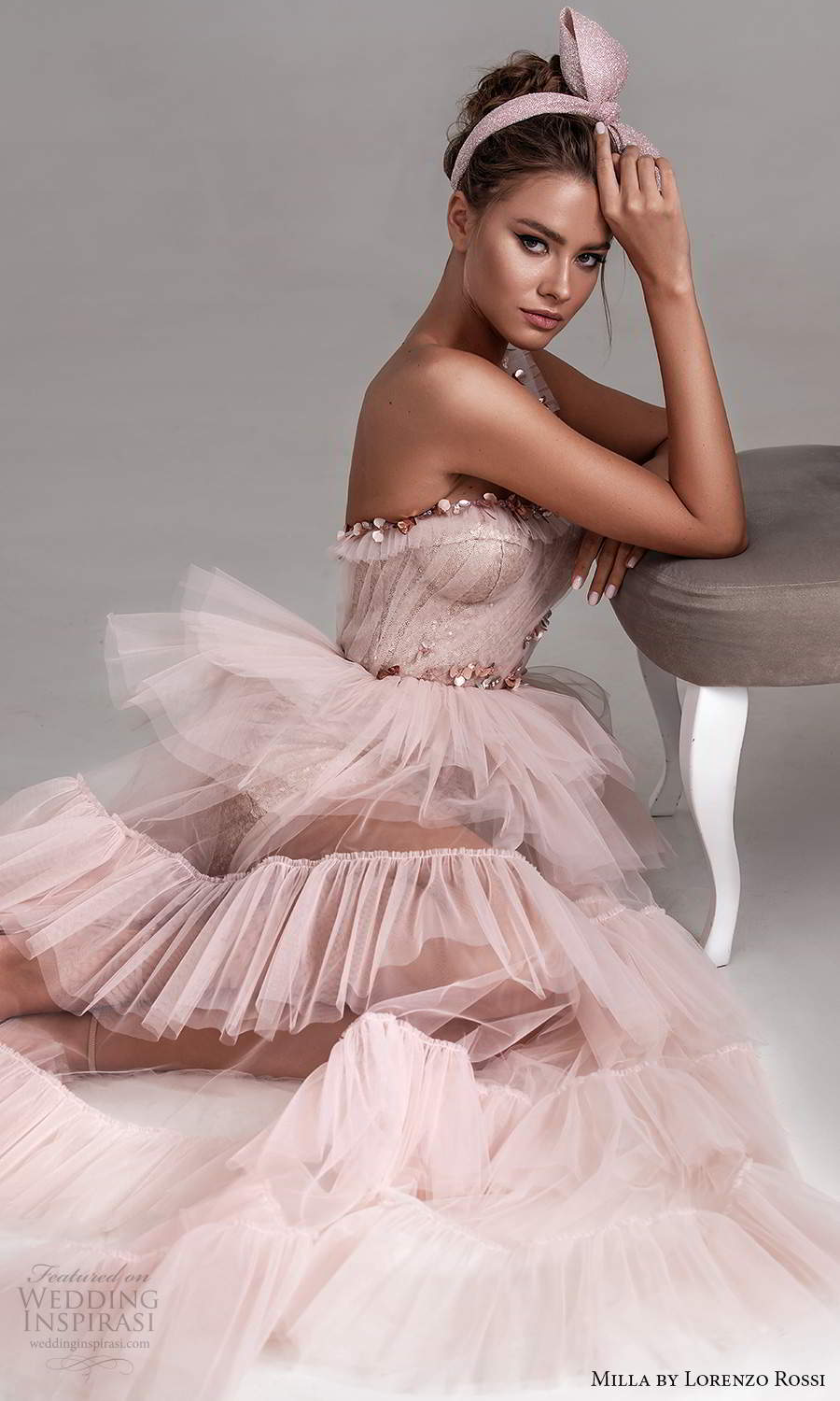 milla by lorenzo rossi 2020 rtw one shoulder straps sweetheart neckline ruched bodice embellished a line dress ruffle tier skirt pink blush (21) zsv