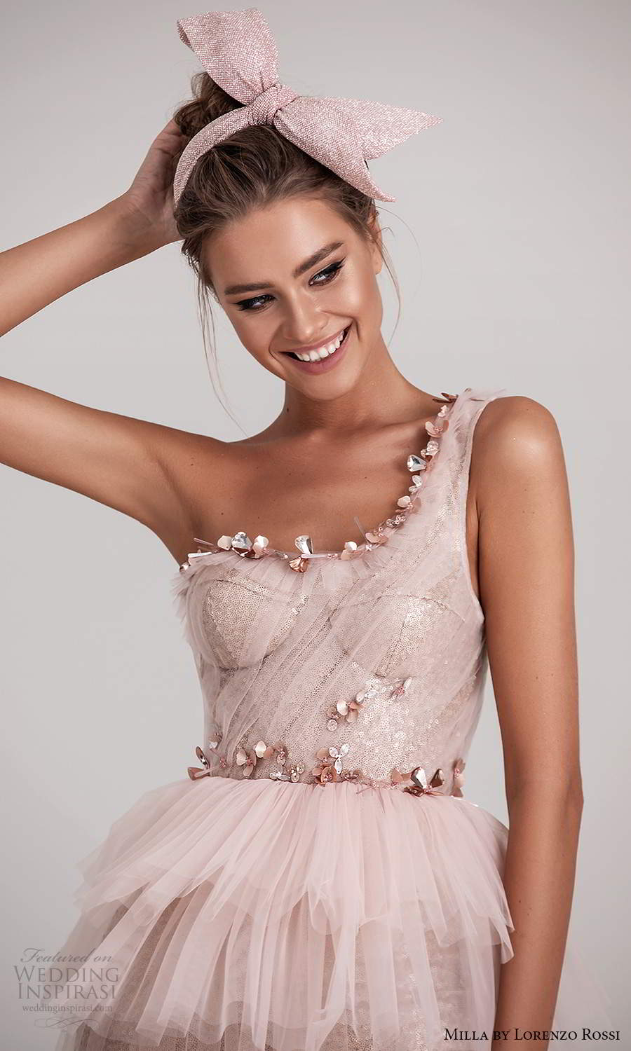milla by lorenzo rossi 2020 rtw one shoulder straps sweetheart neckline ruched bodice embellished a line dress ruffle tier skirt pink blush (21) zv
