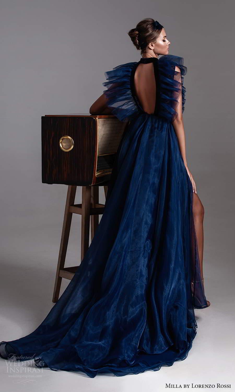 milla by lorenzo rossi 2020 rtw sleeveless high neckline cutout ruffle bodice a line ball gown dress sweep train (14) bv