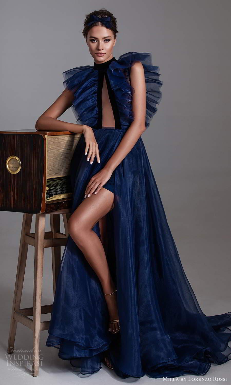 milla by lorenzo rossi 2020 rtw sleeveless high neckline cutout ruffle bodice a line ball gown dress sweep train (14) mv