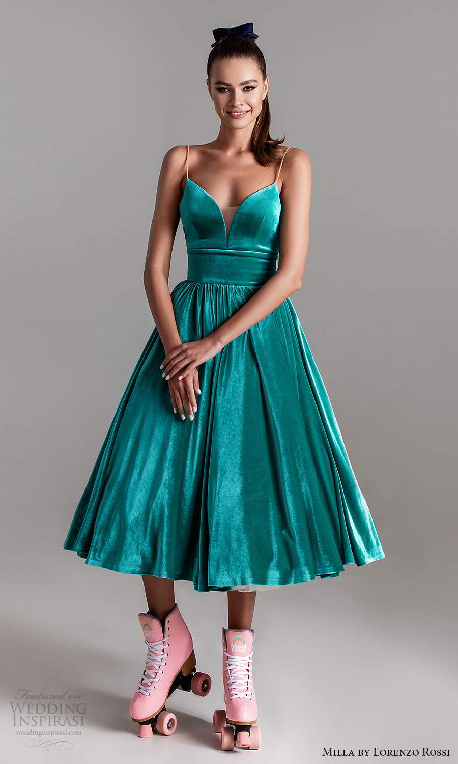 milla by lorenzo rossi 2020 rtw sleeveless plunging sweetheart neckline corset bodice a line ball gown tea length evening dress green color (29) mv