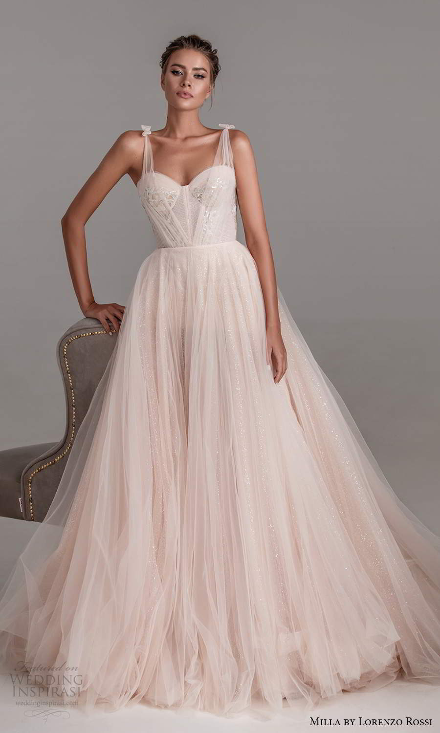 milla by lorenzo rossi 2020 rtw sleeveless ruched straps sweetheart corset bodice a line ball gown wedding dress chapel train (16) mv