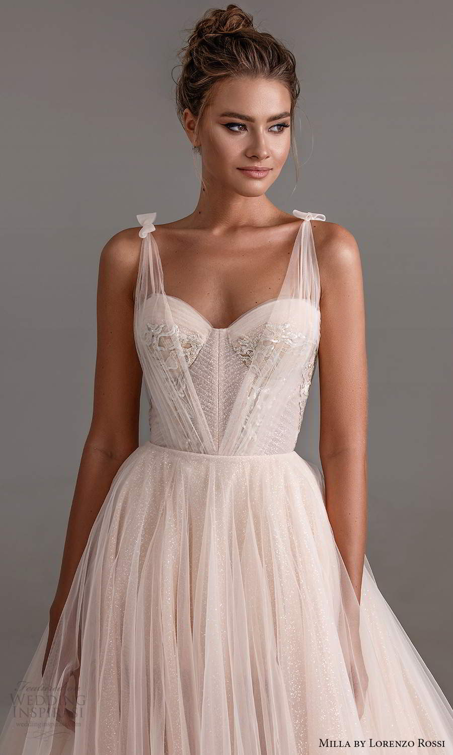 milla by lorenzo rossi 2020 rtw sleeveless ruched straps sweetheart corset bodice a line ball gown wedding dress chapel train (16) zv
