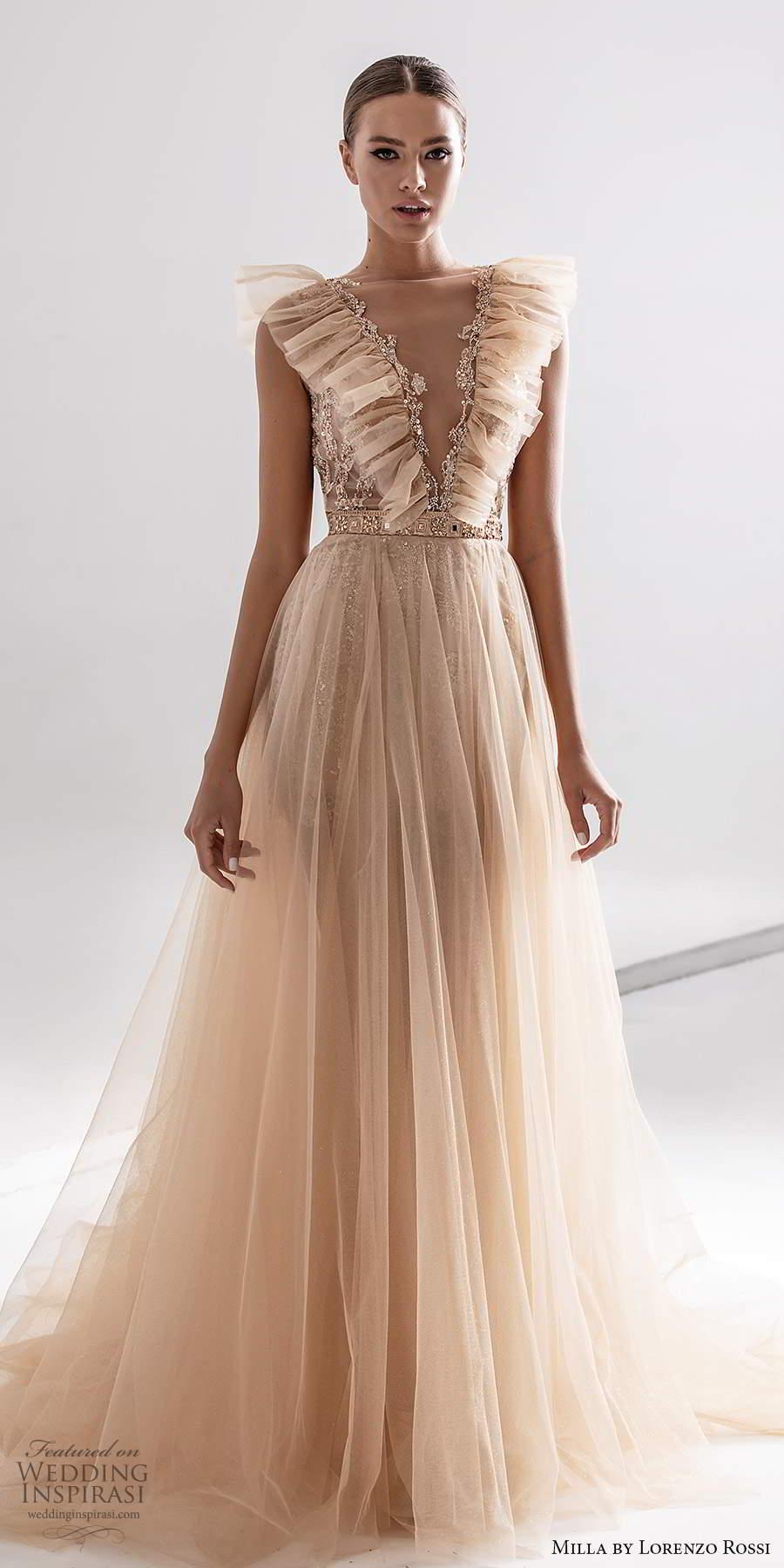 milla by lorenzo rossi 2020 rtw sleeveless ruffle straps plunging v neckline fully embellished a line ball gown wedding dress blush champagne (1) mv