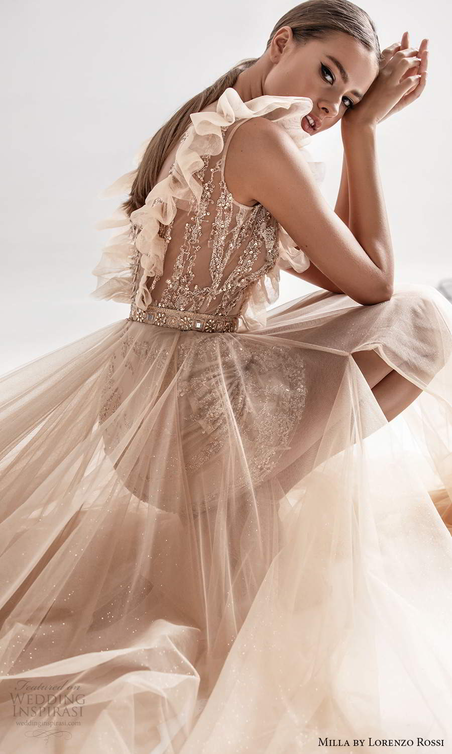 milla by lorenzo rossi 2020 rtw sleeveless ruffle straps plunging v neckline fully embellished a line ball gown wedding dress blush champagne (1) zsv