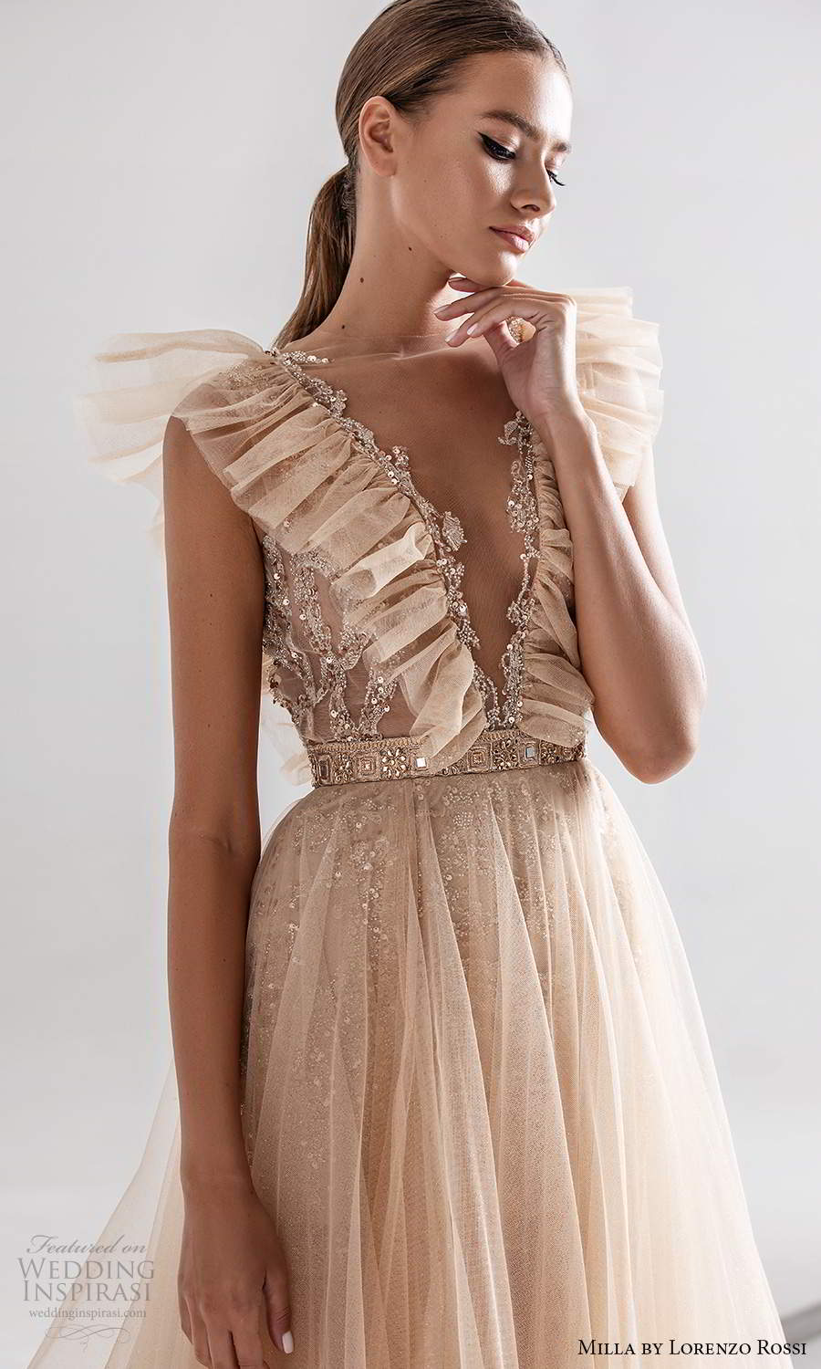 milla by lorenzo rossi 2020 rtw sleeveless ruffle straps plunging v neckline fully embellished a line ball gown wedding dress blush champagne (1) zv