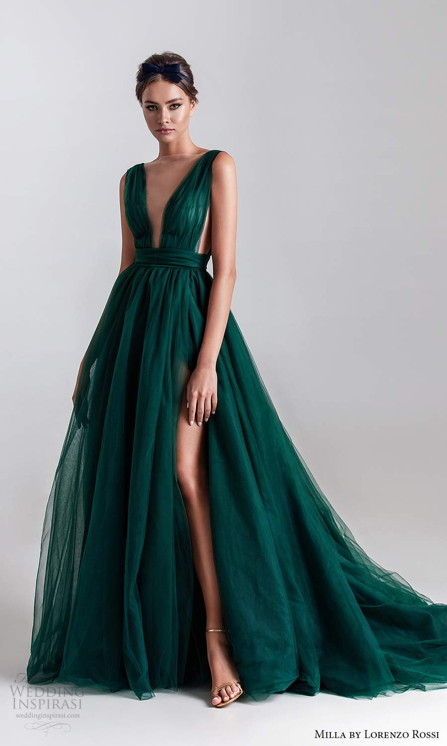 milla by lorenzo rossi 2020 rtw sleeveless  straps plunging neckline ruched bodice a line ball gown wedding dress slit skirt chapel train dark green color (12) mv