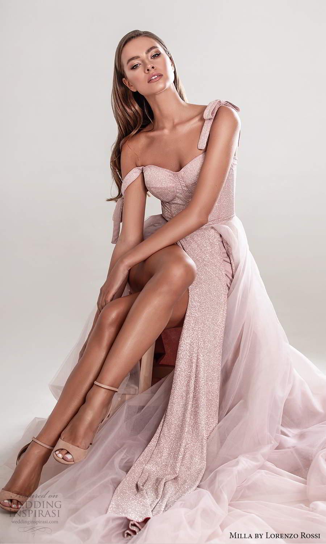 milla by lorenzo rossi 2020 rtw sleeveless straps semi sweetheart neckline corset bodice short wedding dress a line ball gown overskirt chapel train pink (7) zv