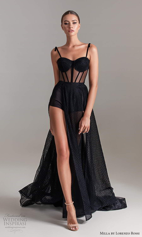 milla by lorenzo rossi 2020 rtw sleeveless straps sweetheart neckline corset bodice shorts a line gown slit skirt (9) mv