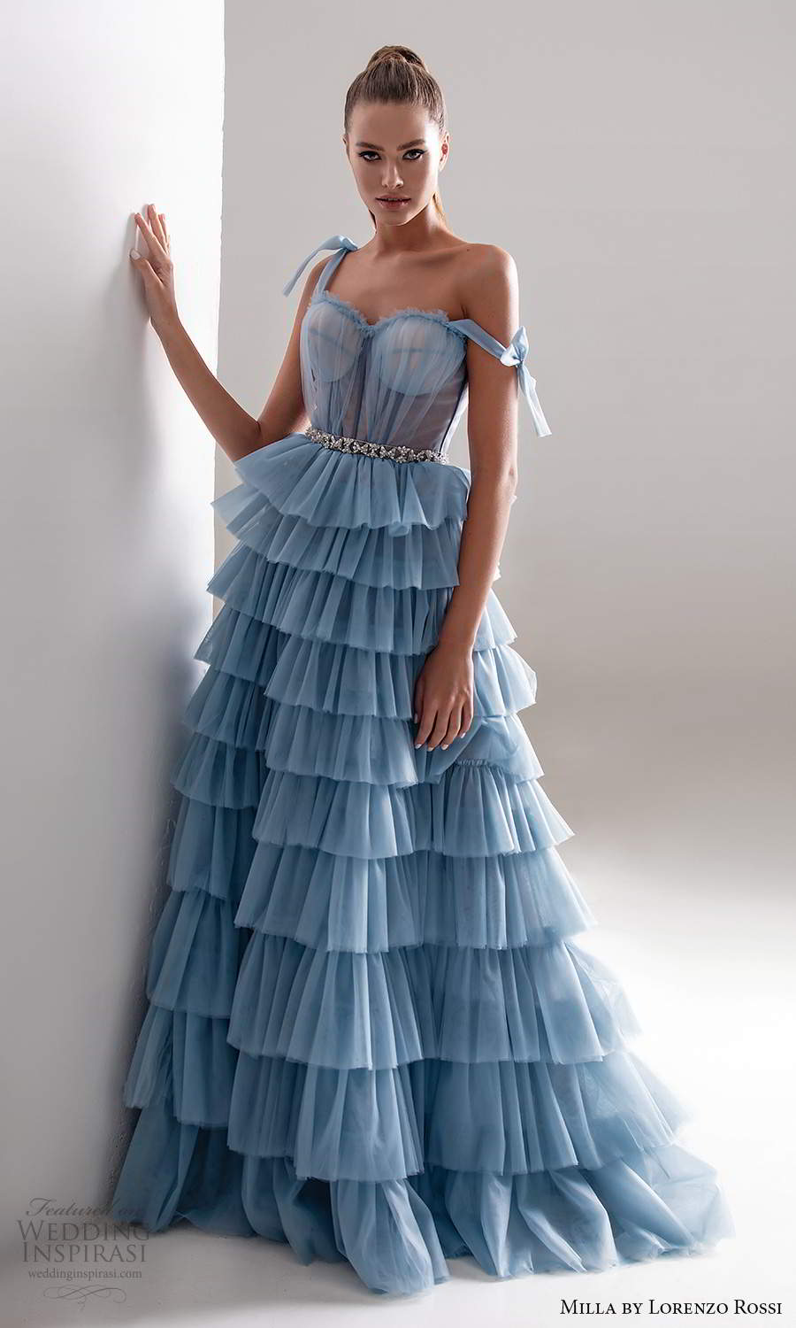 milla by lorenzo rossi 2020 rtw sleeveless straps sweetheart neckline ruched bodicea a line ball gown wedding dress ruffle tier skirt light blue color (10) mv
