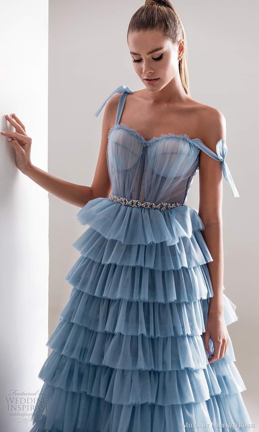 milla by lorenzo rossi 2020 rtw sleeveless straps sweetheart neckline ruched bodicea a line ball gown wedding dress ruffle tier skirt light blue color (10) zv