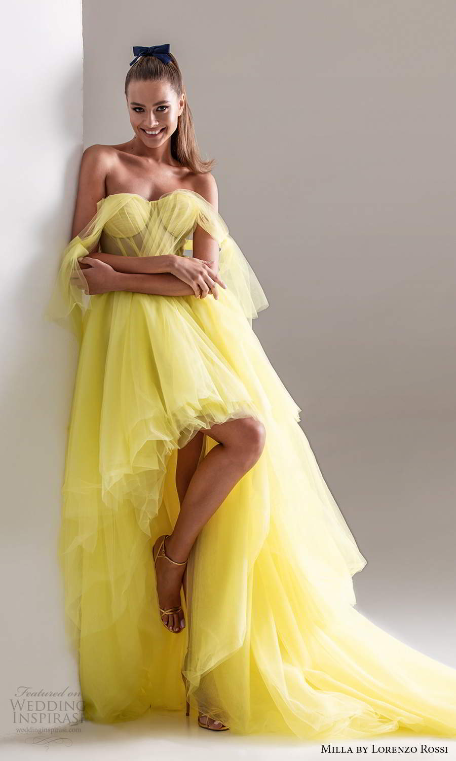 milla by lorenzo rossi 2020 rtw sleeveless thick ruched straps sweetheart neckline high low evening neon yellow (24) mv