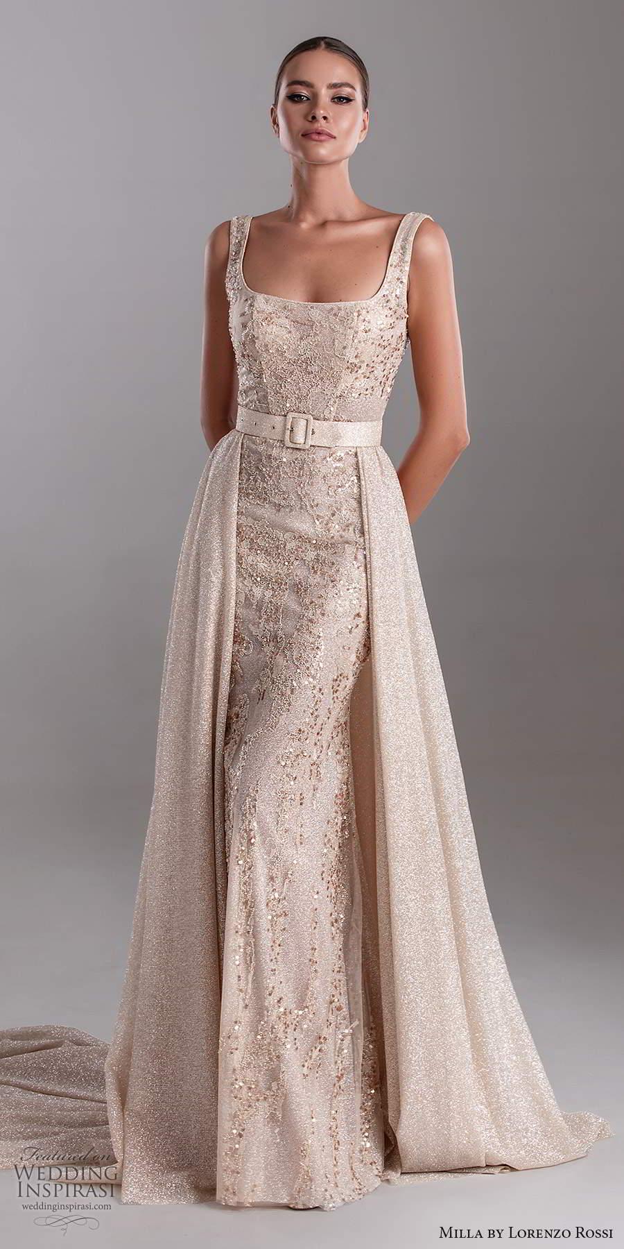 milla by lorenzo rossi 2020 rtw sleeveless thick straps square neckline fully embellished sheath dress a line overskirt (28) mv