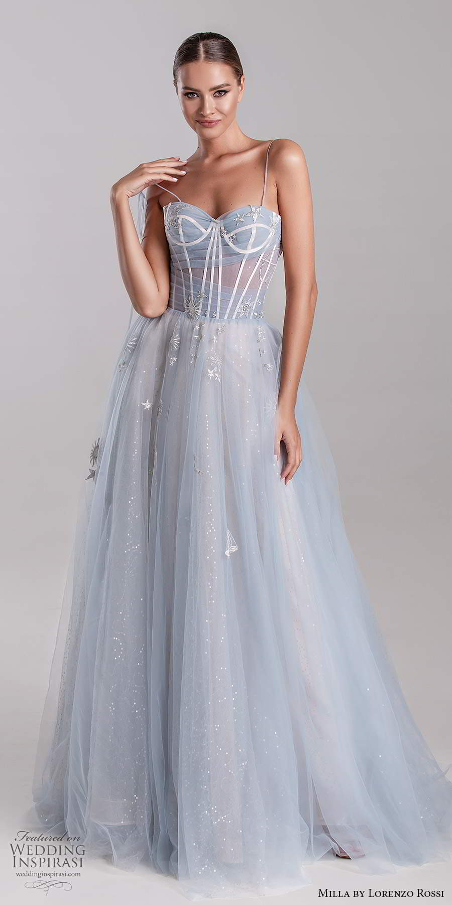 milla by lorenzo rossi 2020 rtw sleeveless thin straps semi sweetheart a line ball gown evening dress pale blue color (25) mv