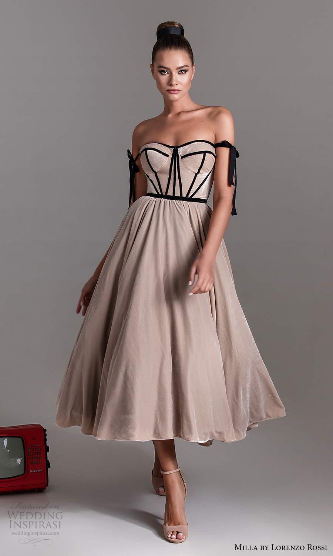 milla by lorenzo rossi 2020 rtw strapless semi sweetheart neckline corset bodice a line ball gown tea length wedding dress (2) mv