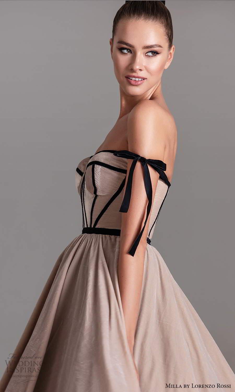 milla by lorenzo rossi 2020 rtw strapless semi sweetheart neckline corset bodice a line ball gown tea length wedding dress (2) zv
