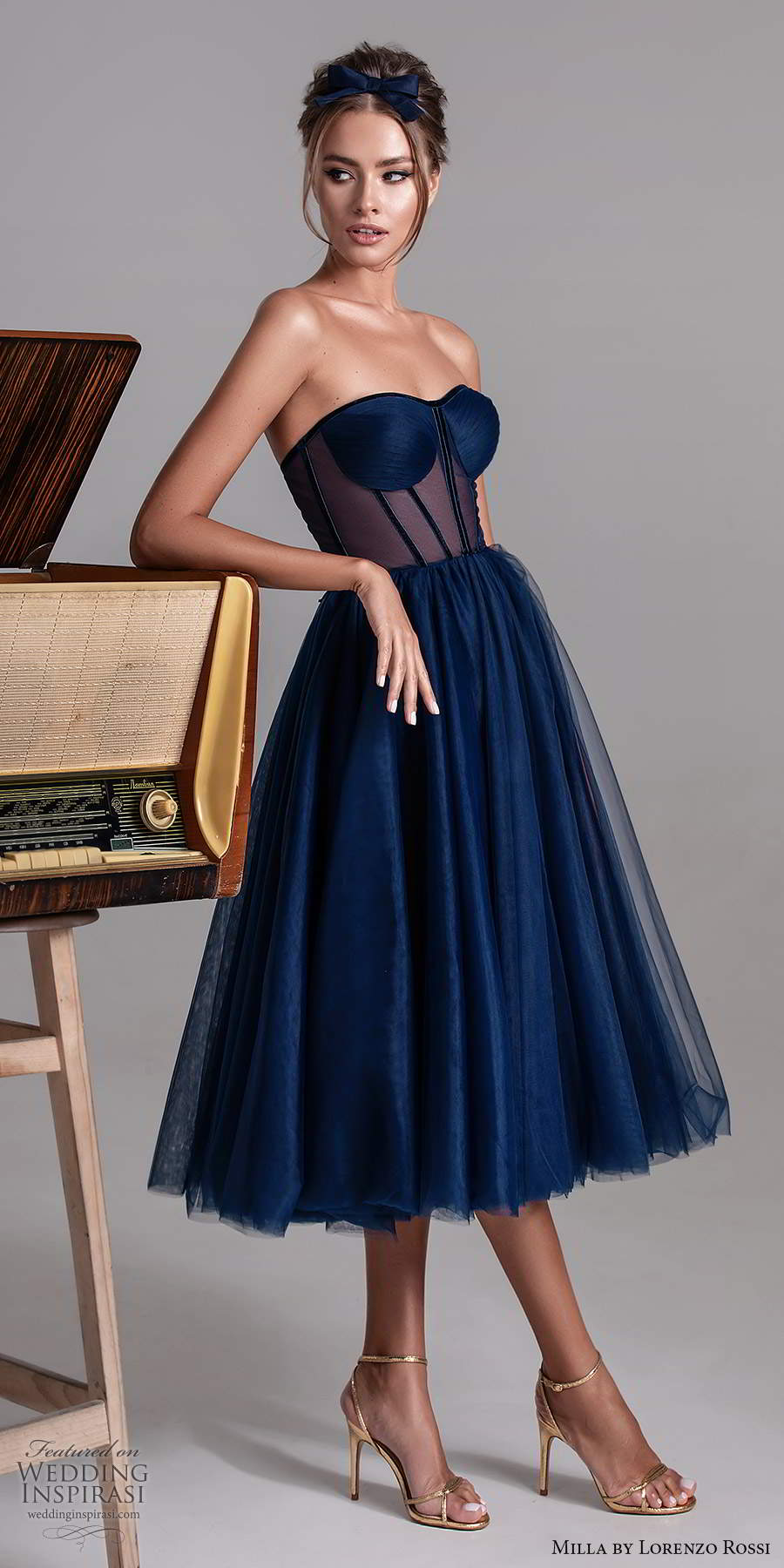milla by lorenzo rossi 2020 rtw strapless semi sweetheart sheer corset bodice a line ball gown tea length evening dress navy blue color (27) mv
