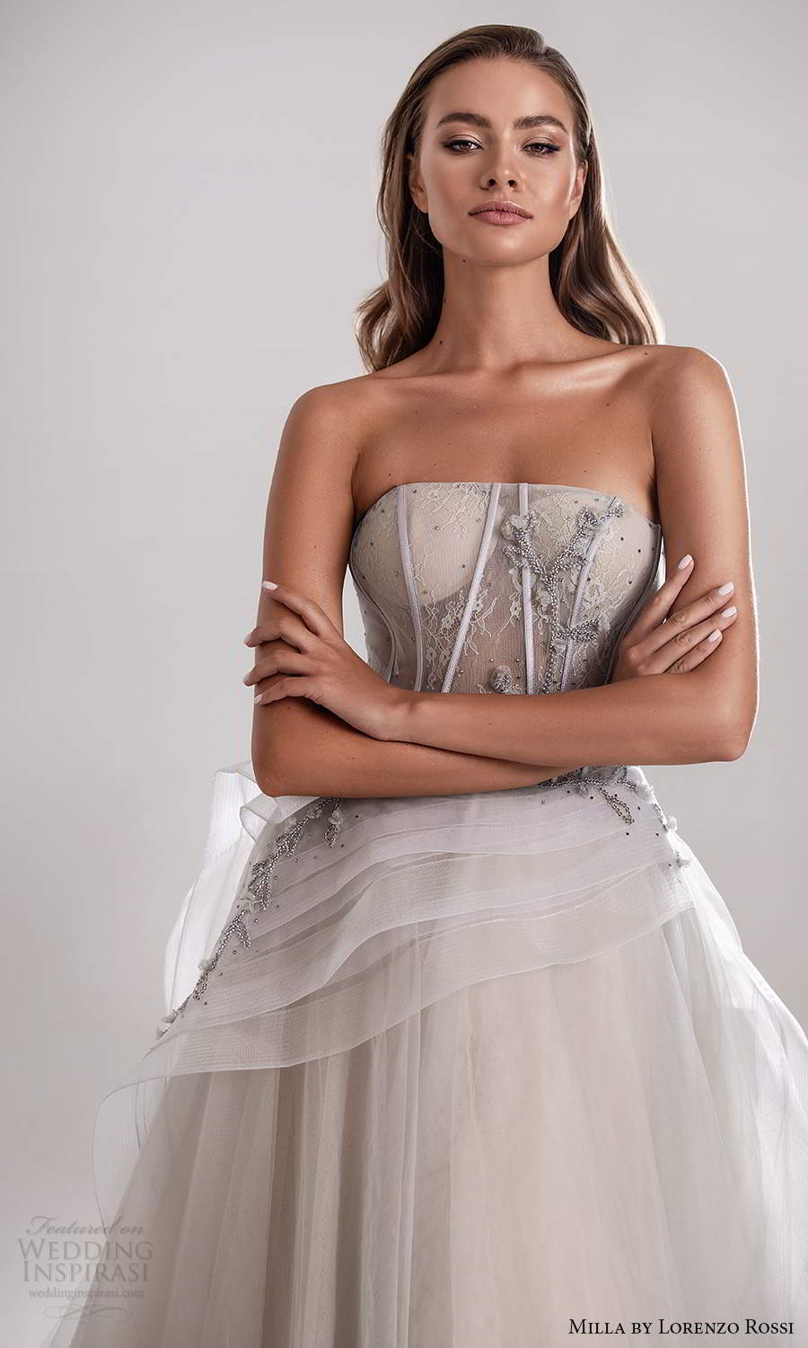 milla by lorenzo rossi 2020 rtw strapless straight across sheer corset bodice a line ball gown wedding dress grey color (18) mv