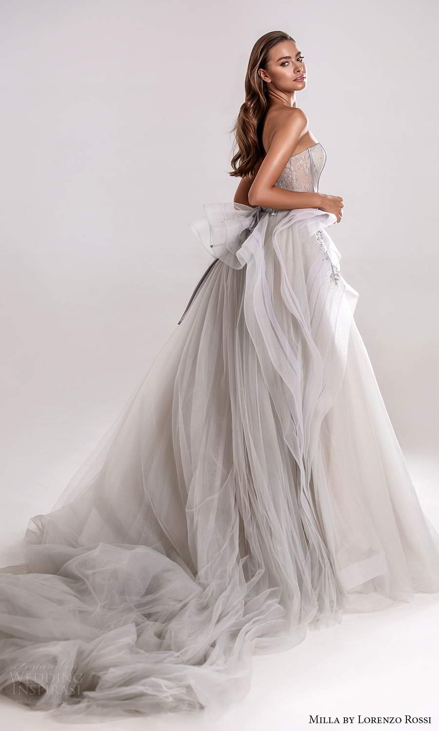 milla by lorenzo rossi 2020 rtw strapless straight across sheer corset bodice a line ball gown wedding dress grey color (18) sv
