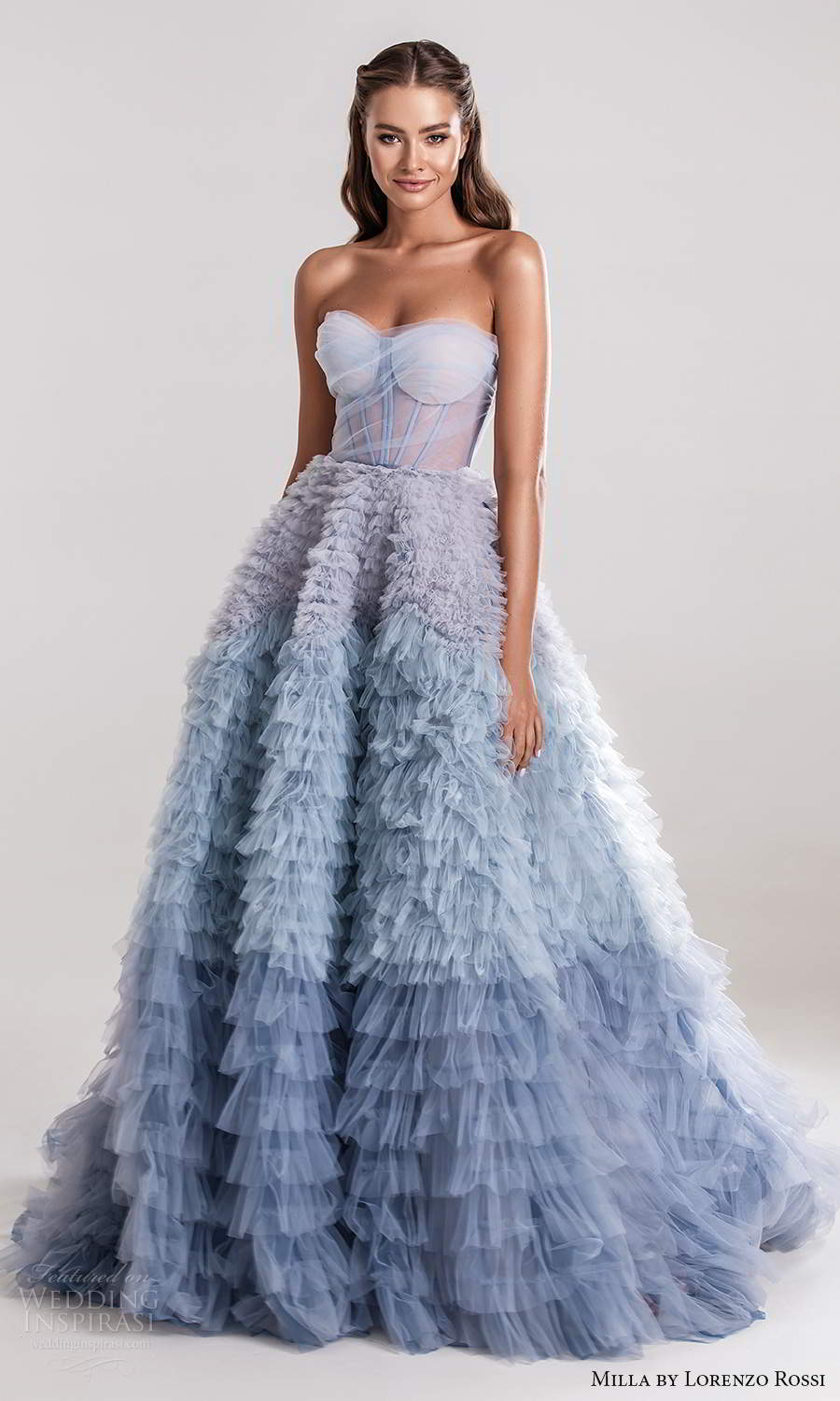 milla by lorenzo rossi 2020 rtw strapless sweetheart neckline ruched corset bodice a line ball gown wedding dress ruffle skirt ombre blue (17) mv