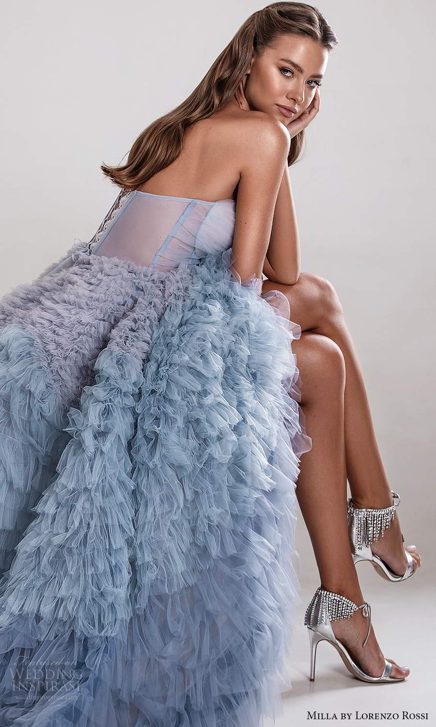 milla by lorenzo rossi 2020 rtw strapless sweetheart neckline ruched corset bodice a line ball gown wedding dress ruffle skirt ombre blue (17) zsv
