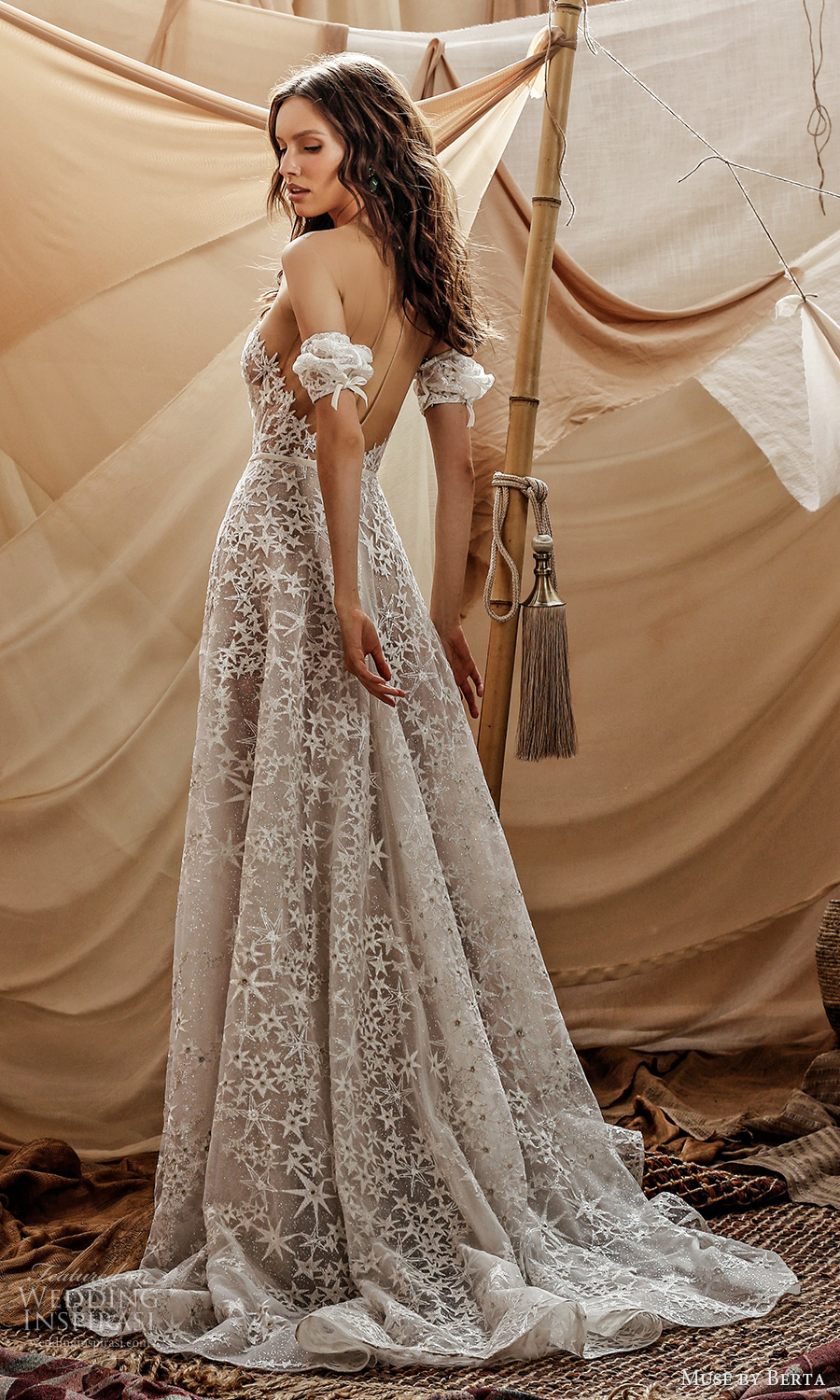 muse by berta spring 2021 bridal detached short puff sleeves plunging sweetheart neckline fully embellished a line ball gown wedding dress chapel train (4) bv