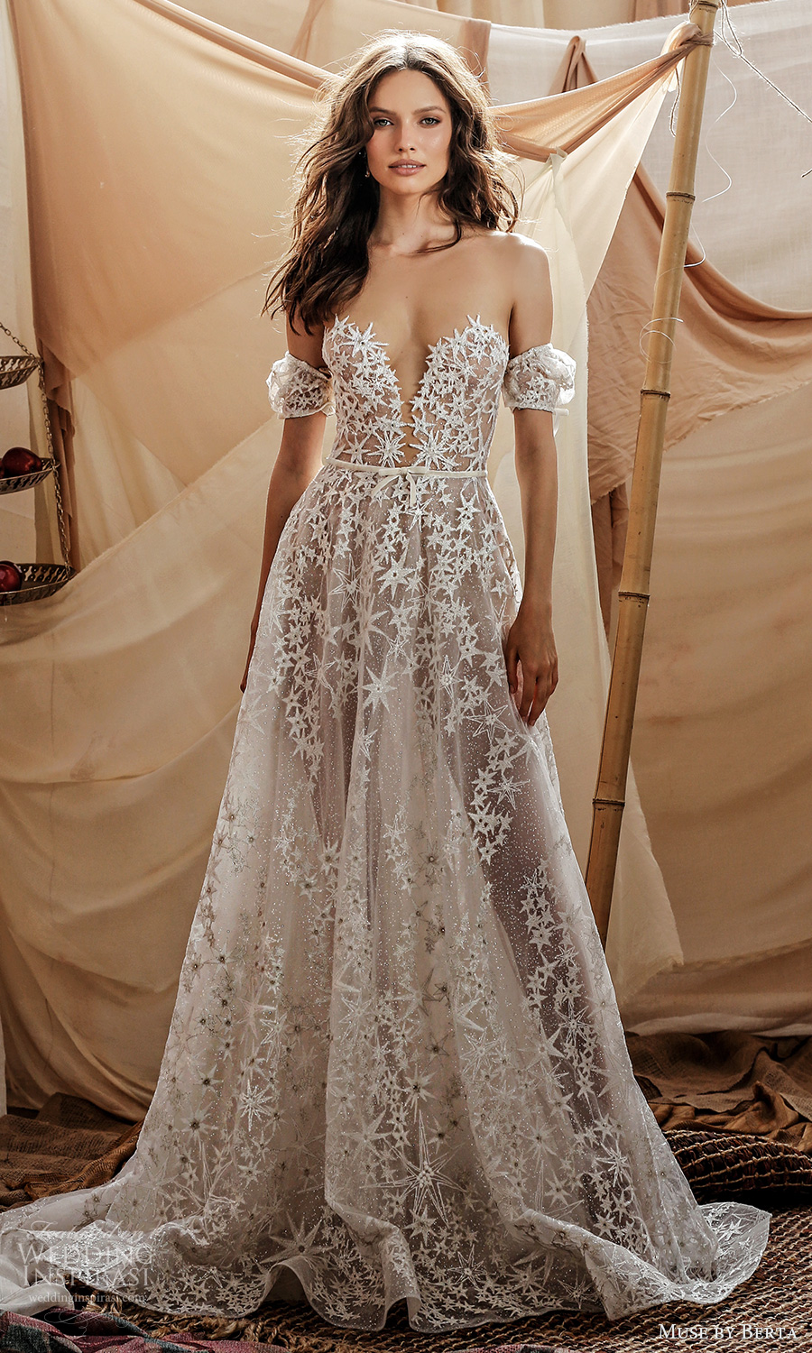 muse by berta spring 2021 bridal detached short puff sleeves plunging sweetheart neckline fully embellished a line ball gown wedding dress chapel train (4) mv