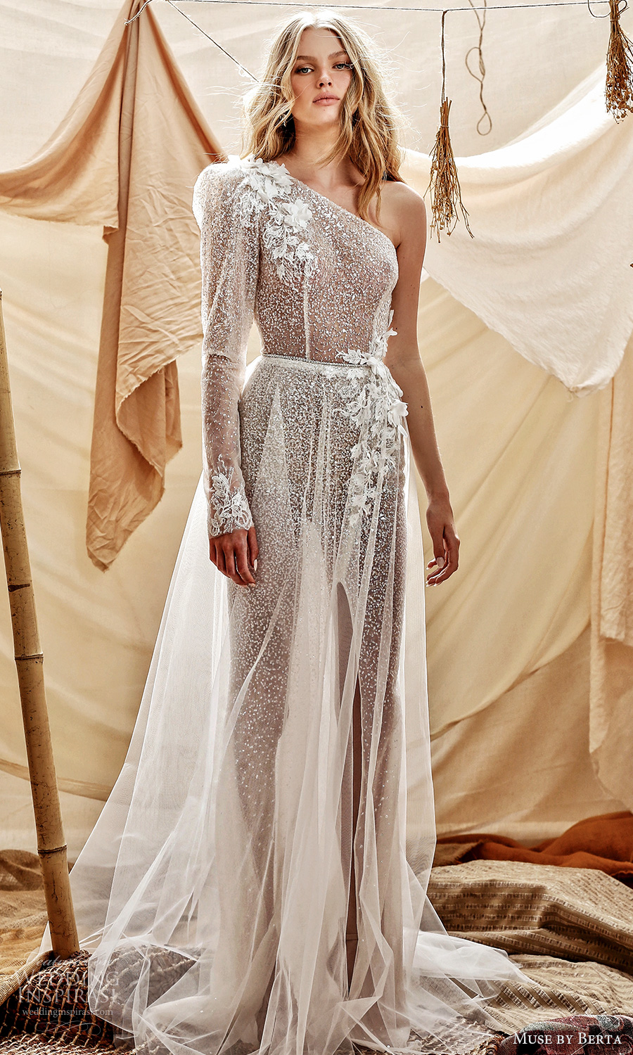 muse by berta spring 2021 bridal long sleeve one shoulder asymmetric neckline fully embellished sheer skirt a line wedding dress chapel train (1) mv