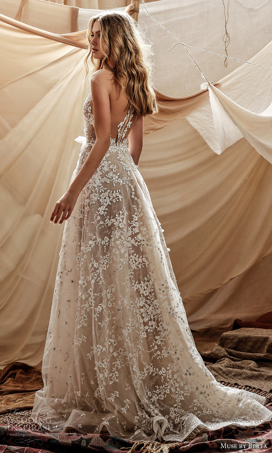 muse by berta spring 2021 bridal sleeveless illusion straps plunging v neckline fully embellished lace a line ball gown wedding dress chapel train (2) bv