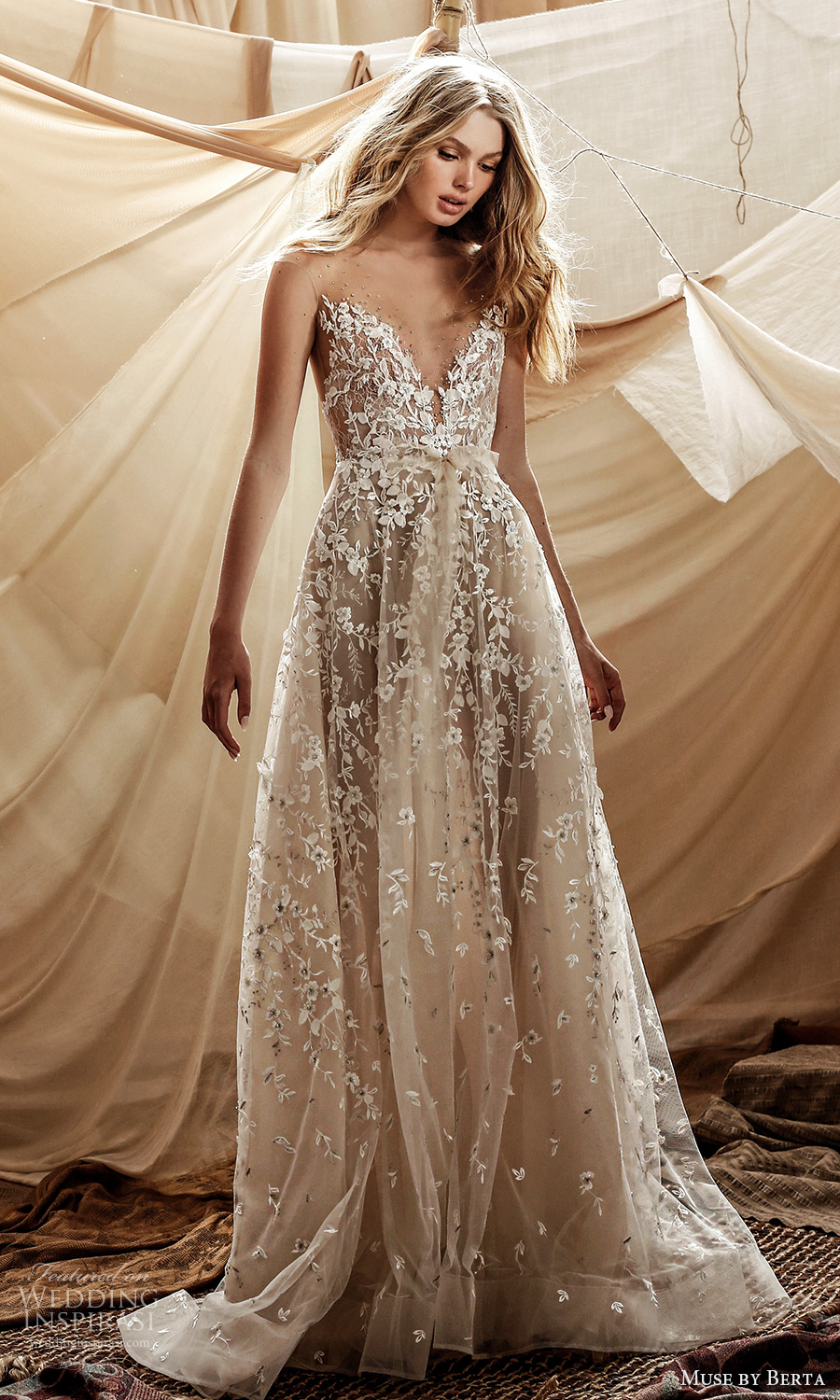 muse by berta spring 2021 bridal sleeveless illusion straps plunging v neckline fully embellished lace a line ball gown wedding dress chapel train (2) mv