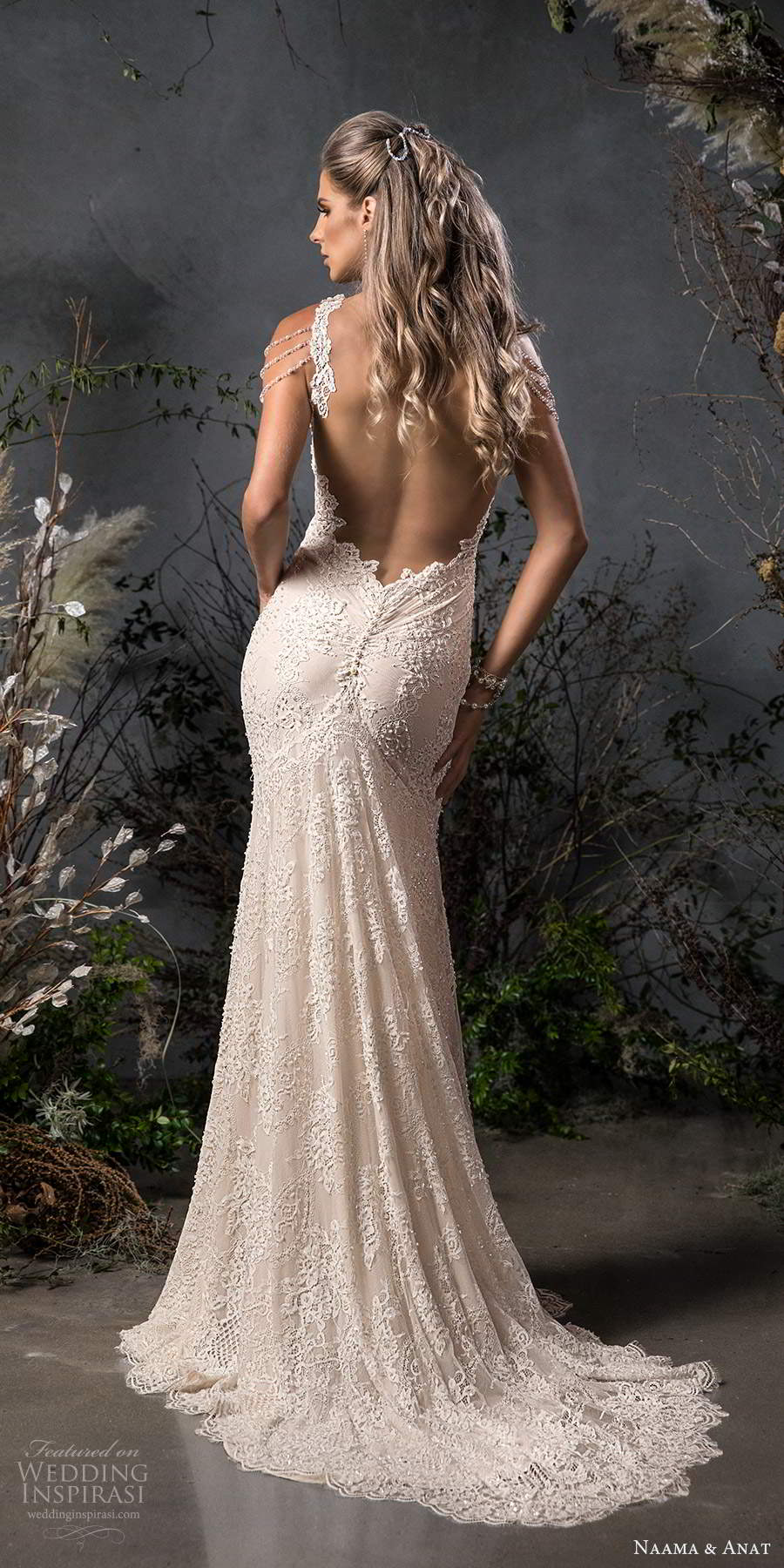 naama anat fall 2020 bridal cold shoulder straps sweetheart neckline fully embellished fit flare sheath wedding dress chapel train (2) bv