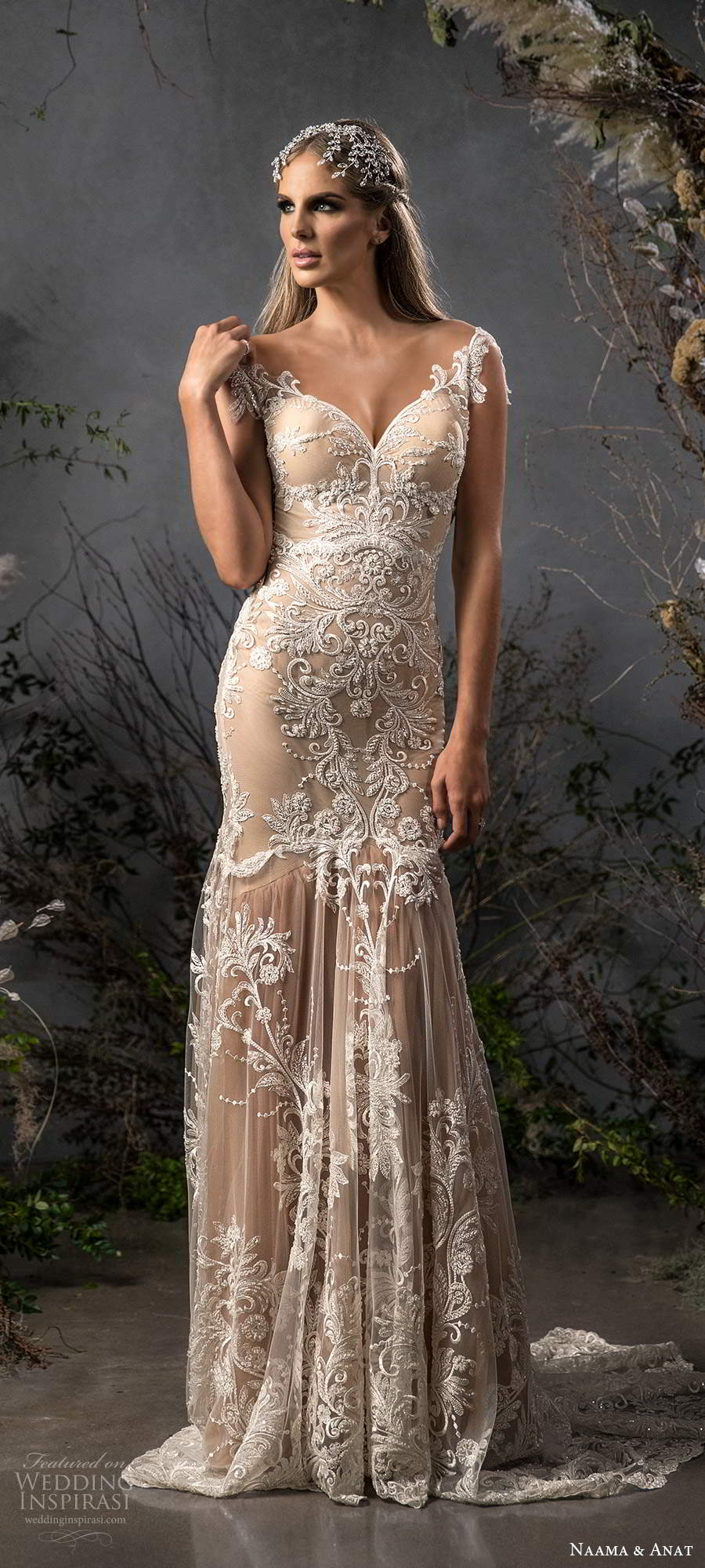 naama anat fall 2020 bridal illusion cap sleeves sweetheart neckline fully embellished fit flare a line wedding dress chapel train champagne (4) mv