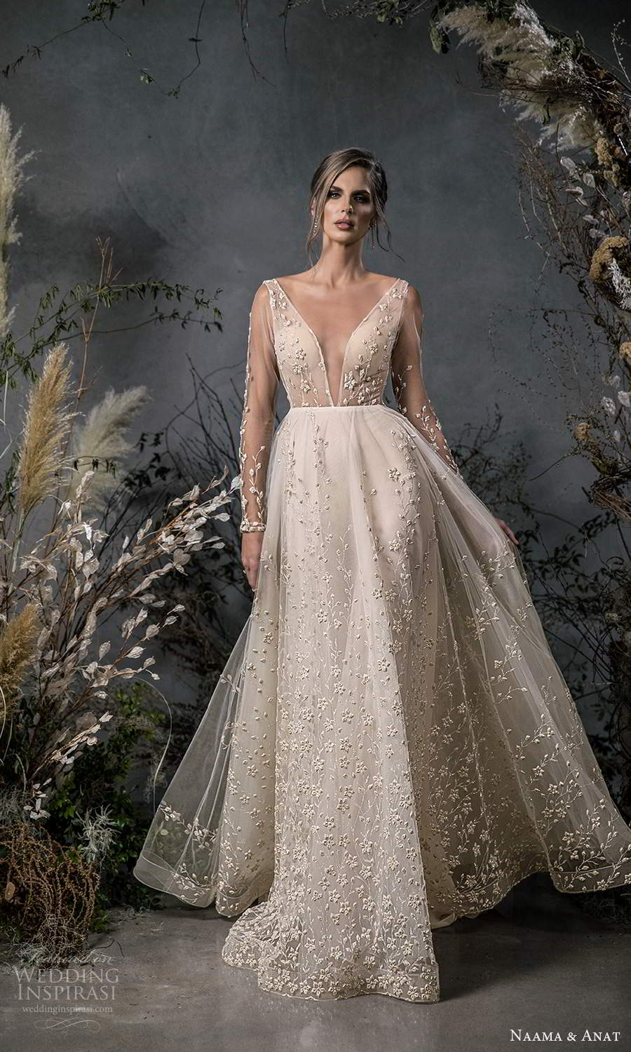naama anat fall 2020 bridal illusion long sleeves plunging v neckline fully embellished a line ball gown wedding dress chapel train (6) mv