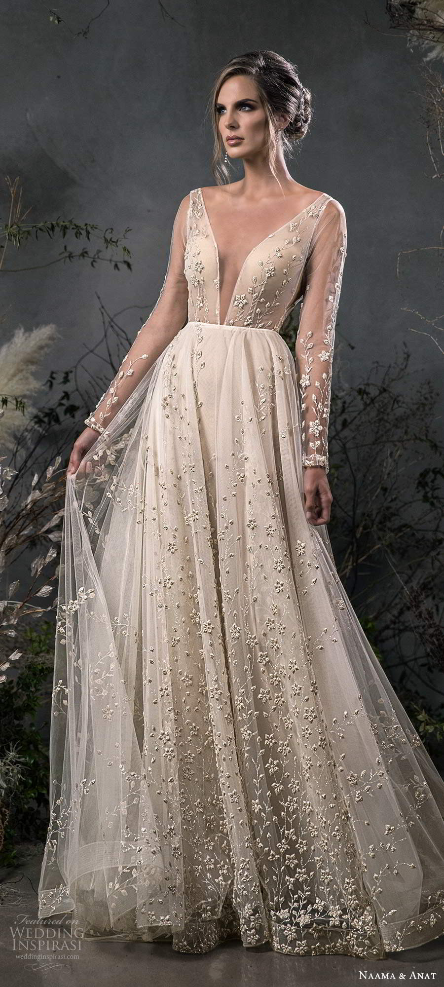 naama anat fall 2020 bridal illusion long sleeves plunging v neckline fully embellished a line ball gown wedding dress scoop back chapel train (6) lv