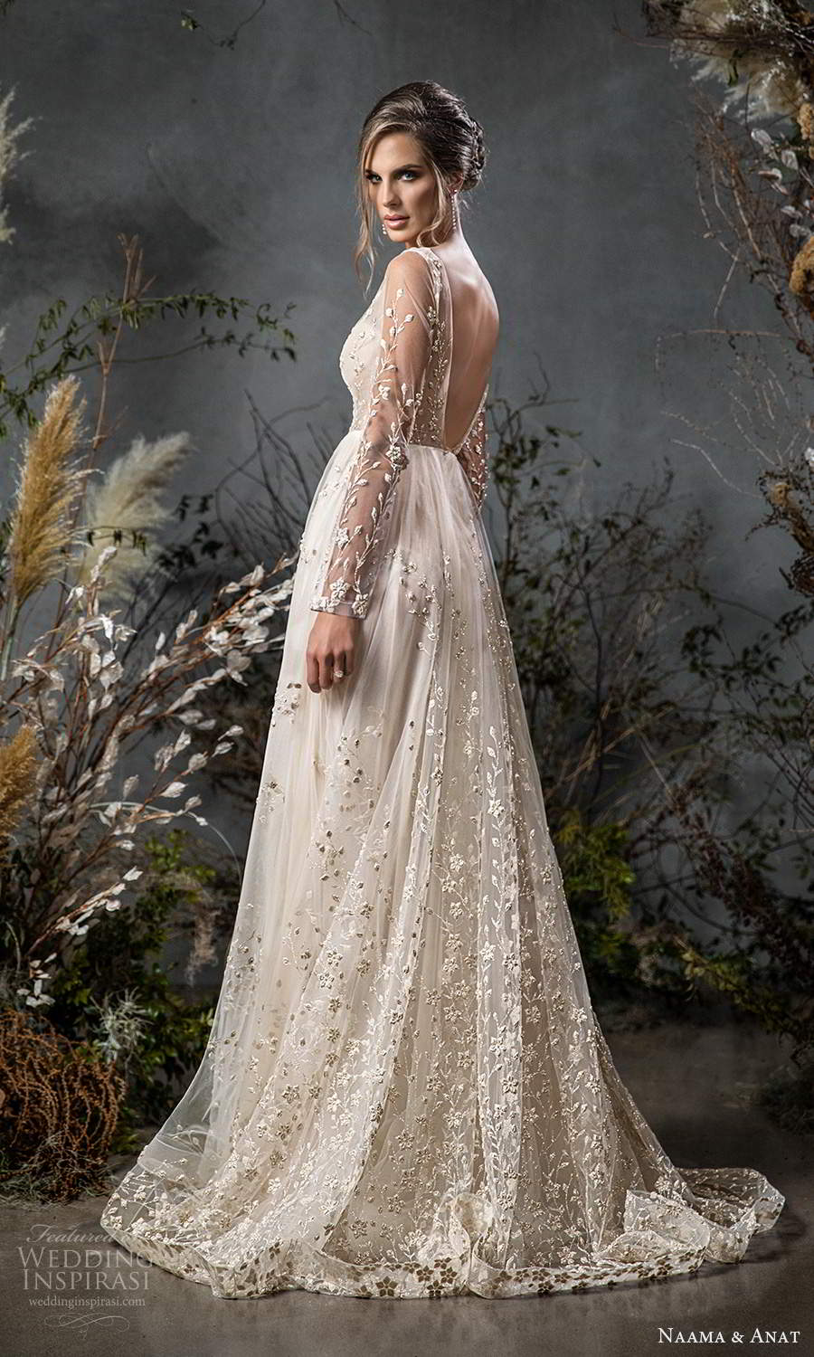 naama anat fall 2020 bridal illusion long sleeves plunging v neckline fully embellished a line ball gown wedding dress scoop back chapel train (6) mv