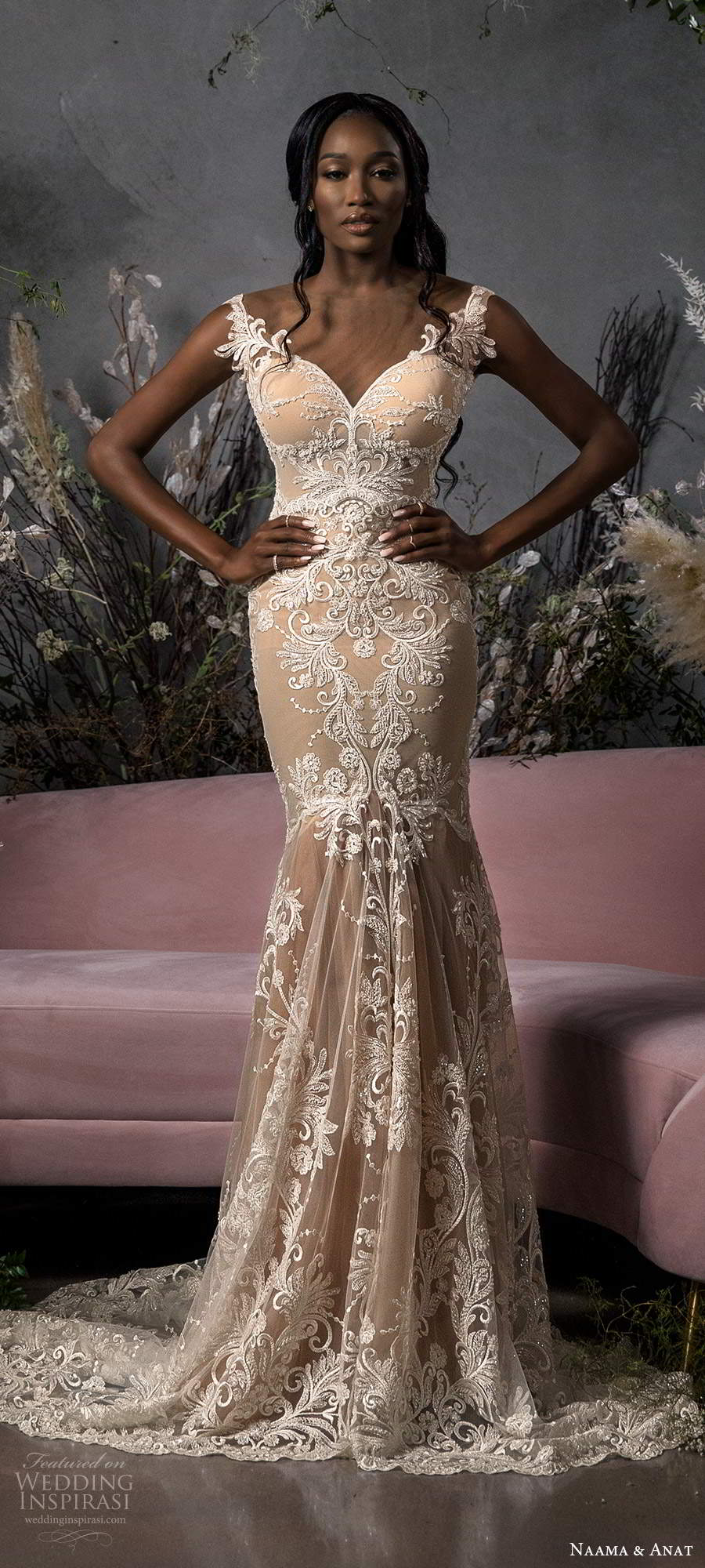 naama anat fall 2020 bridal illusion off shoulder sleeves sweetheart neckline fully embellished fit flare a line wedding dress chapel train champagne (4) mv