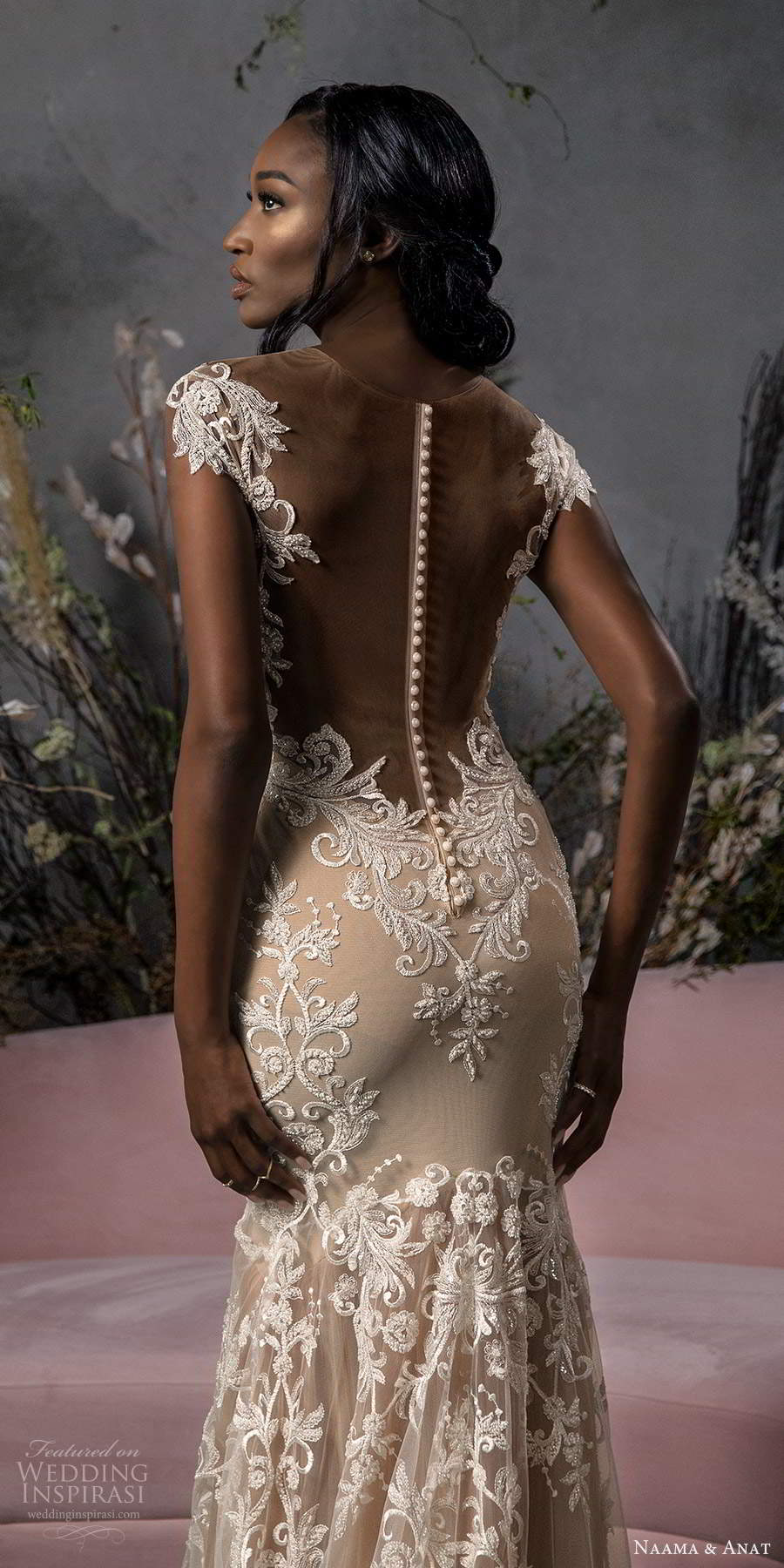 naama anat fall 2020 bridal illusion off shoulder sleeves sweetheart neckline fully embellished fit flare a line wedding dress chapel train champagne (4) zbv