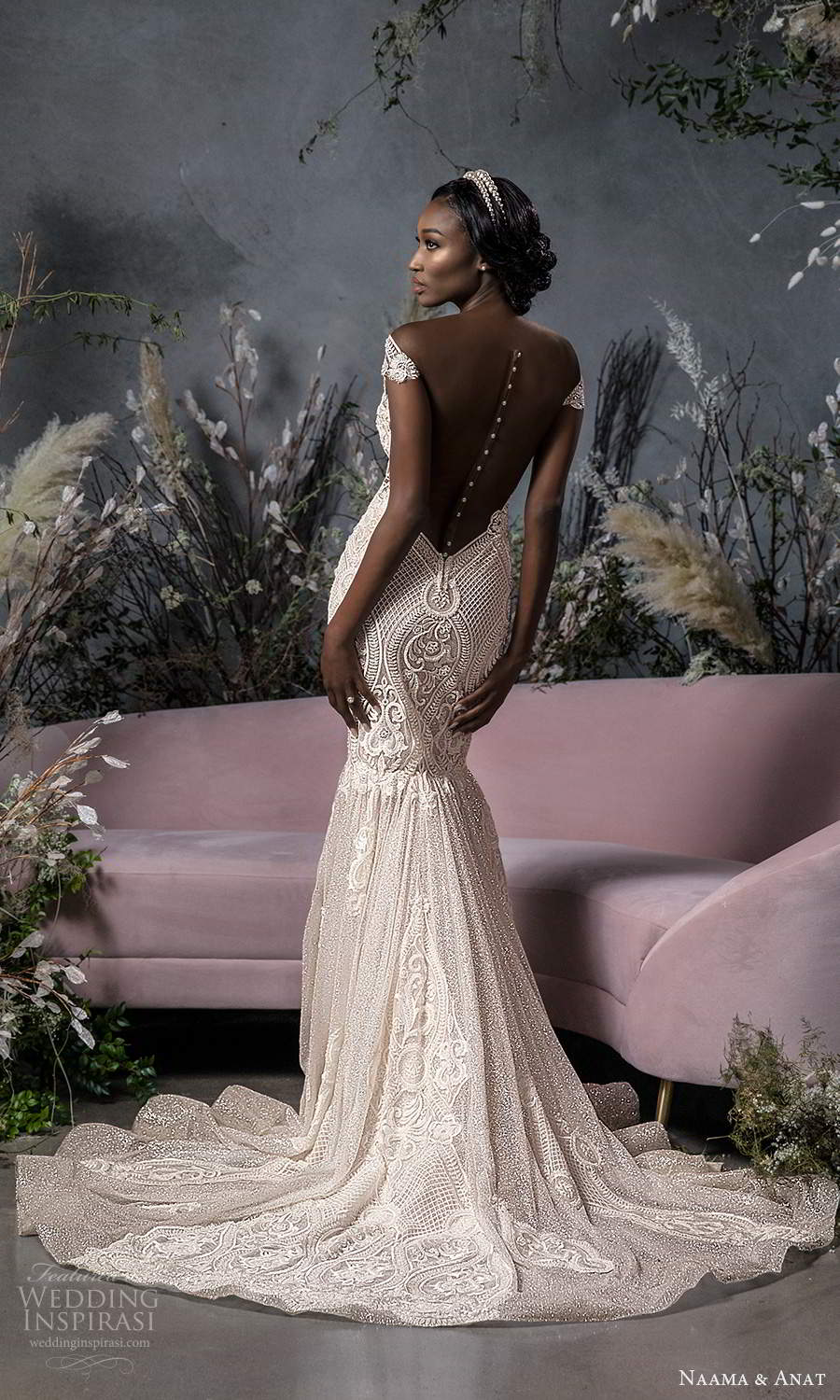naama anat fall 2020 bridal off shoulder sweetheart neckline fully embellished fit flare mermad wedding dress chapel train blush (5) bv