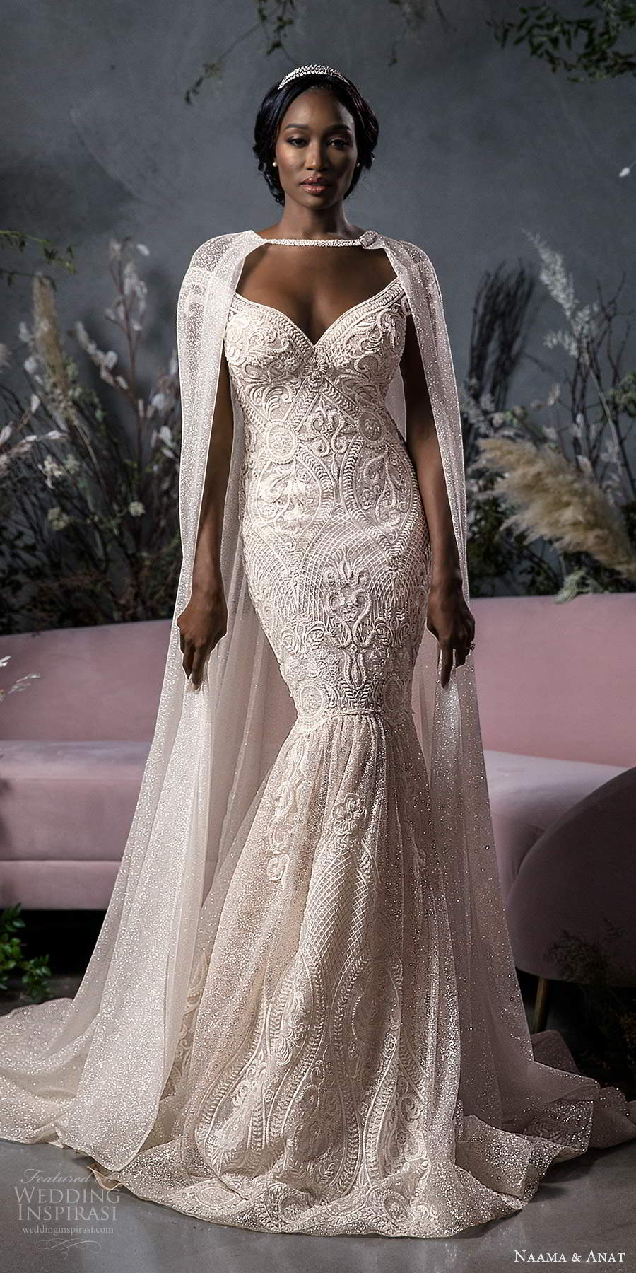 naama anat fall 2020 bridal off shoulder sweetheart neckline fully embellished fit flare mermad wedding dress chapel train blush cape (5) bv