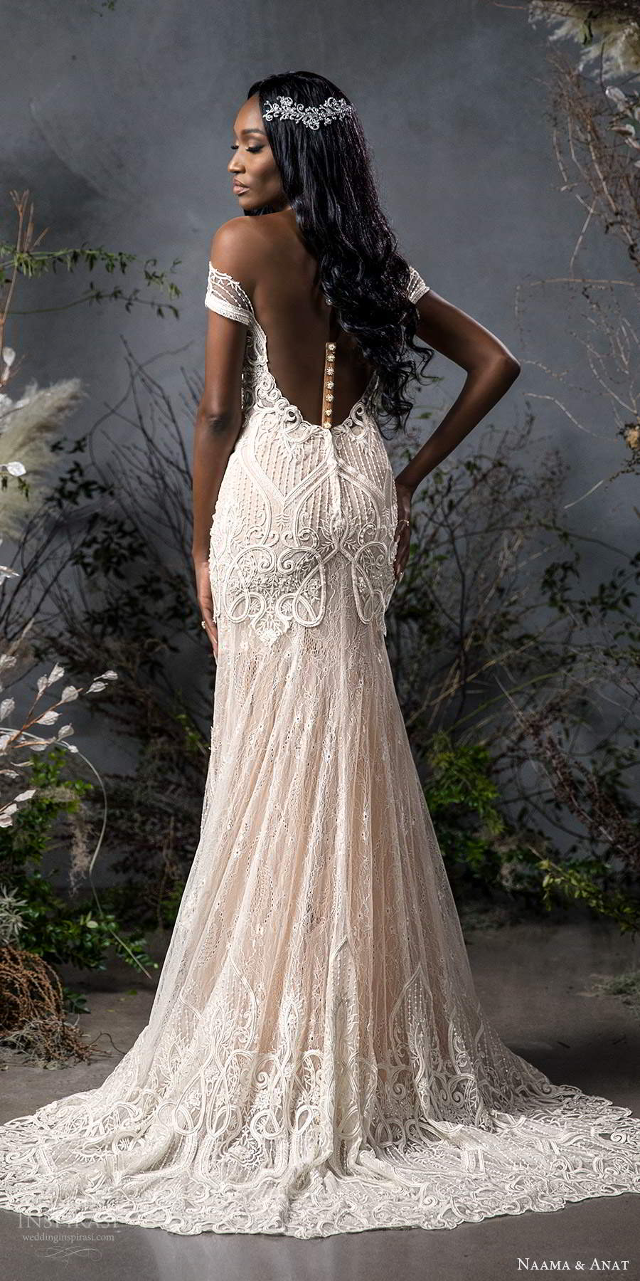 naama anat fall 2020 bridal off shoulder sweetheart neckline fully embellished fit flare wedding dress chapel train illusion back (3) bv