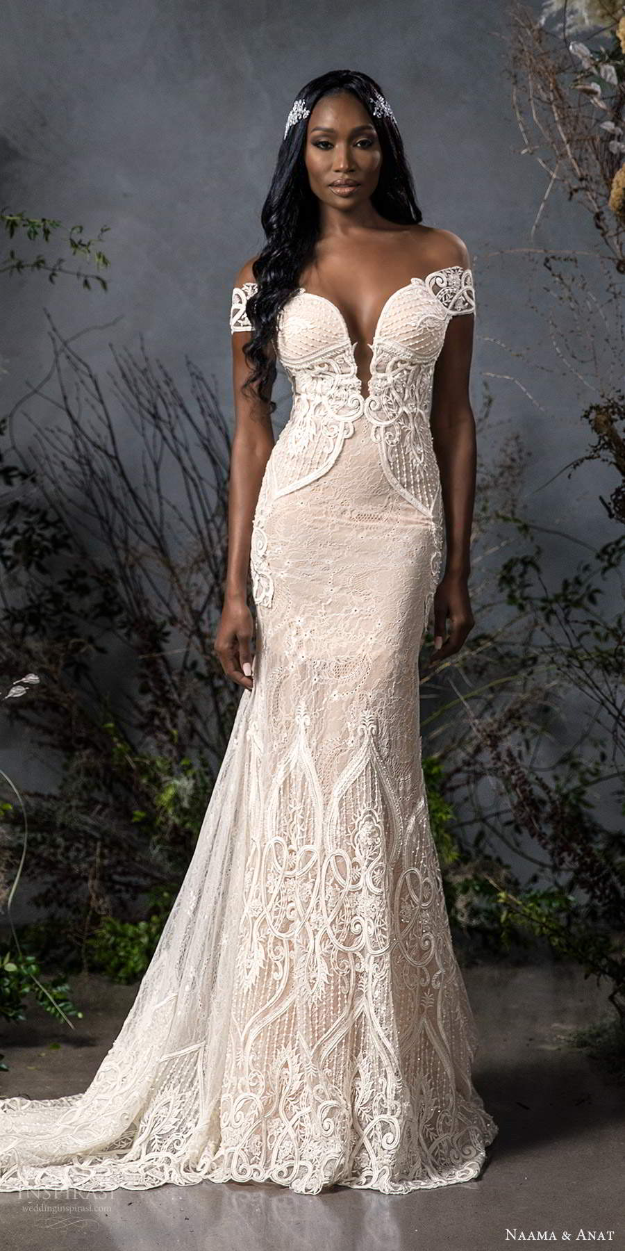 naama anat fall 2020 bridal off shoulder sweetheart neckline fully embellished fit flare wedding dress chapel train illusion back (3) mv