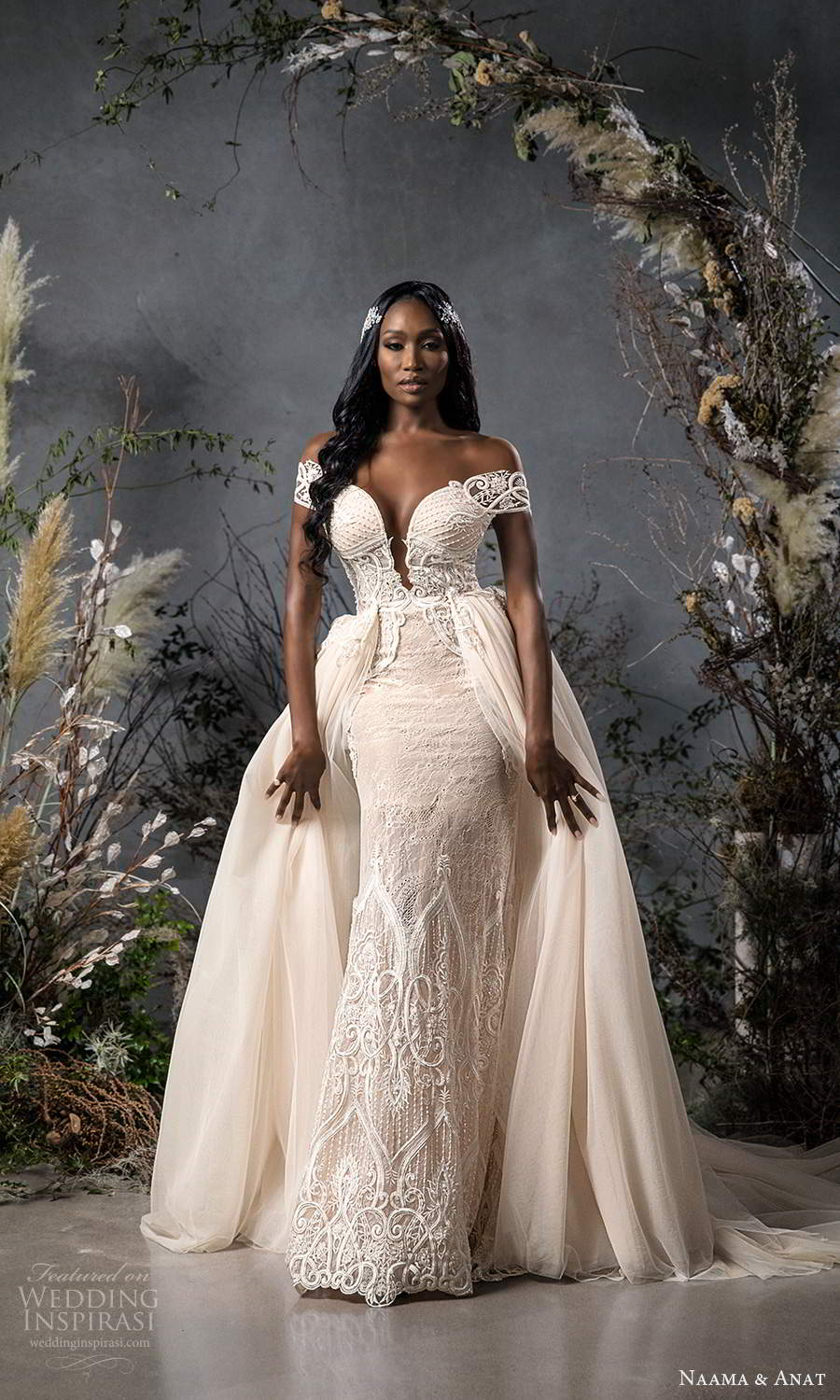 naama anat fall 2020 bridal off shoulder sweetheart neckline fully embellished fit flare wedding dress chapel train illusion back ball gown overskirt (3) mv